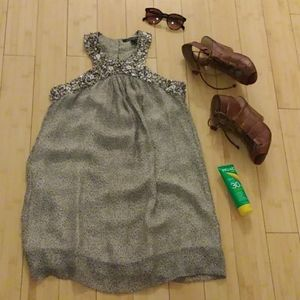 French Connection silk beaded halter dress size 6
